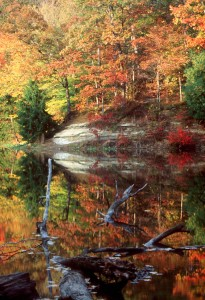 Fall colors are reflected in Bryant Creek Lake