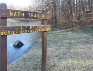 The start of the Jimmy Nash Trail at the park's pond is well-marked
