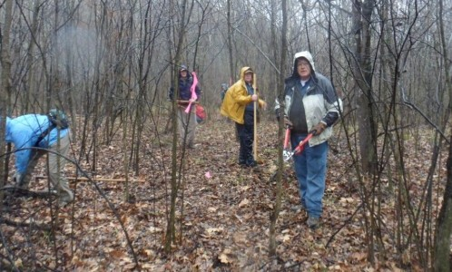 HHC volunteers building a trail route around Indian Hill road