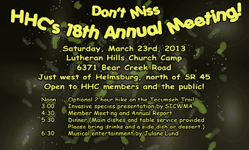 Every year the Hoosier Hikers Council hosts a membership meeting in March.  Everybody is welcome!