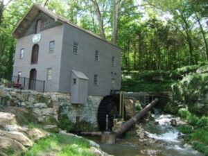 Beck's Mill, Indiana, was first built in 1807 by George Beck, Sr.  Pictured is the structure restored in 2008 by the Friends of Beck's Mill, Inc.