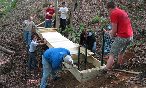 The Boy Scouts donated and built a bridge on one of HHC's trail easement properties.