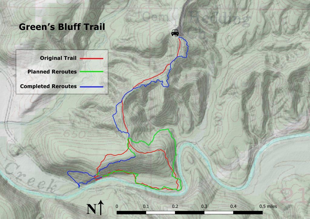 Green's Bluff Trail progress as of 6/30/2021