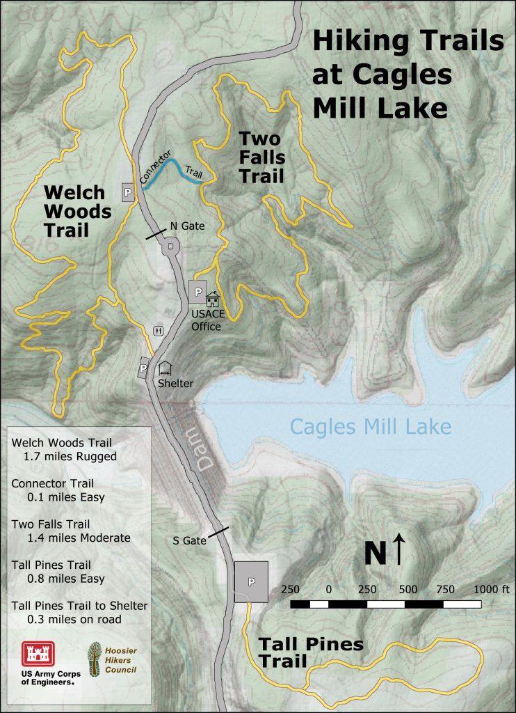Map of Hiking Trails at Cagles Mill Lake