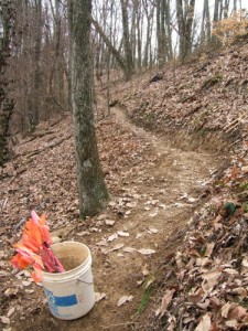 The steep ridges can make trail work along the Knobstone difficult, requiring deep banks