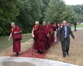 Visiting monks enjoy the new trail